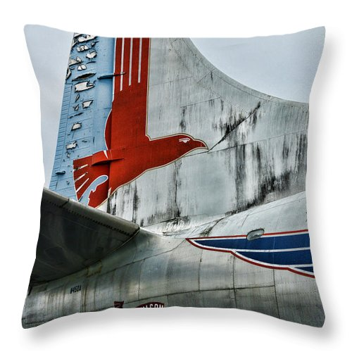 Paul Ward Throw Pillow featuring the photograph Plane Tail Wing Eastern Air Lines by Paul Ward