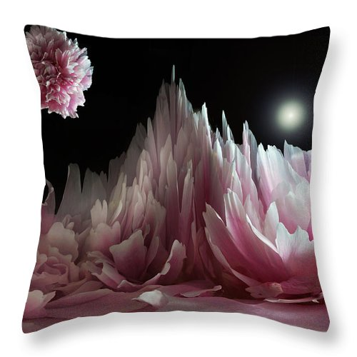 Digital Art Throw Pillow featuring the photograph Planet Peony by Terence Davis