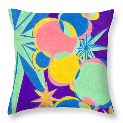 Color Throw Pillow featuring the drawing Planets And Stars by Kim Sy Ok