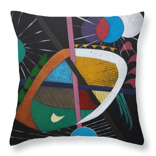 Acrylic Throw Pillow featuring the painting Planets by Sergey Bezhinets