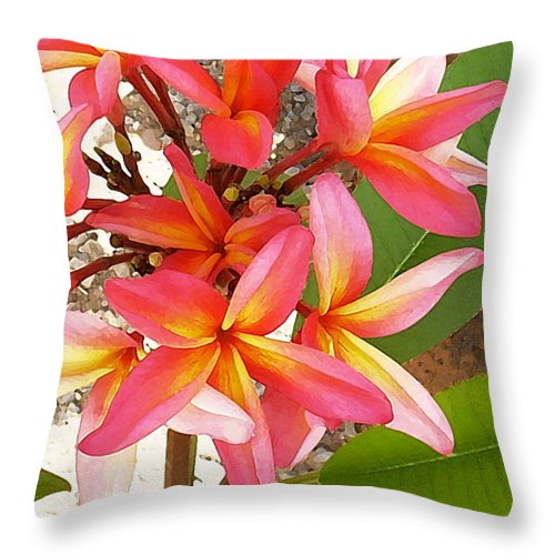 Hawaii Iphone Cases Throw Pillow featuring the photograph Plantation Plumeria by James Temple