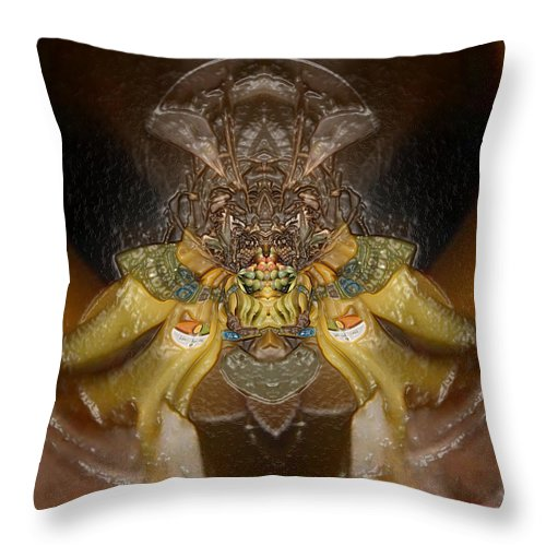 Plastic Wrap Throw Pillow featuring the digital art Plastic Organic Banana Spider  by Michael Bates