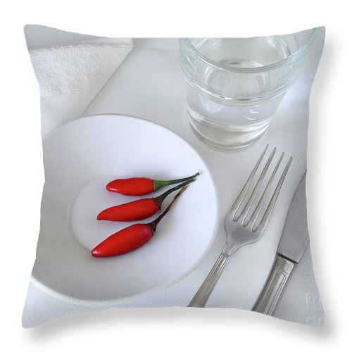 Plate Throw Pillow featuring the photograph Plate Of Chilies by Carlos Caetano