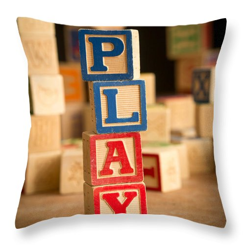 Abs Throw Pillow featuring the photograph Play - Alphabet Blocks by Edward Fielding