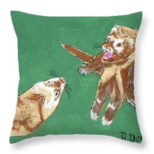Ferrets Throw Pillow featuring the painting Play Time by Brian Dearth