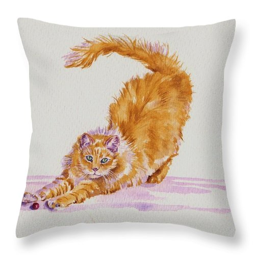 Cat Cats Kitten Kittens Marmalade Cute Fluffy Animals Pet Pets Throw Pillow featuring the painting Play With Me...please by Debra Hall