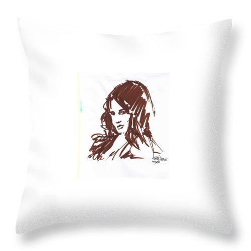 Playful Throw Pillow featuring the drawing Playful by Seth Weaver