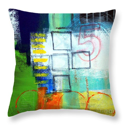 Abstract Throw Pillow featuring the painting Playground by Linda Woods
