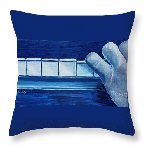 Piano Throw Pillow featuring the painting Playing The Blues by Julie Brugh Riffey