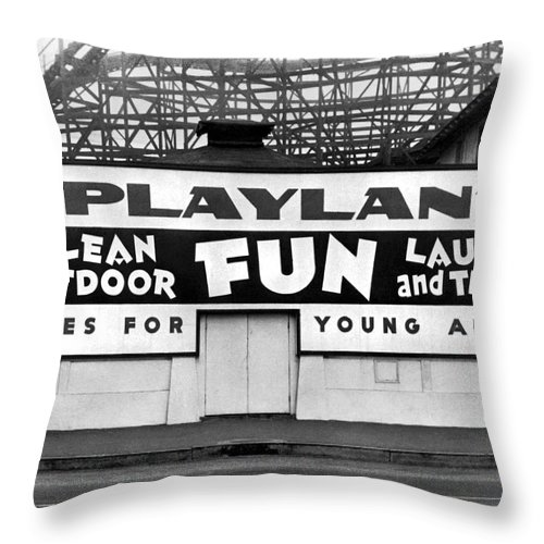 1940's Throw Pillow featuring the photograph Playland At The Beach by Underwood Archives