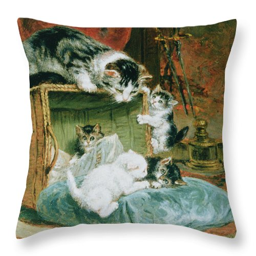 Cat Throw Pillow featuring the painting Playtime by Henriette Ronner-Knip