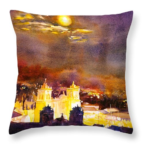 Cathedral Throw Pillow featuring the painting Plaza De Armas- Cusco by Ryan Fox