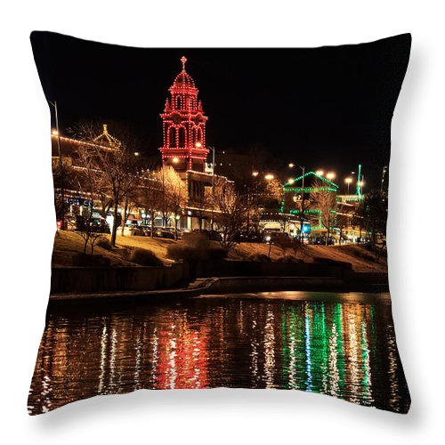 Country Club Plaza Throw Pillow featuring the photograph Plaza Time Tower Night Reflection by Kevin Anderson