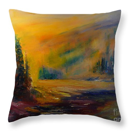 Landscape Throw Pillow featuring the painting Pleasant Evening by Pusita Gibbs