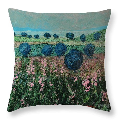 Landscape Throw Pillow featuring the painting Pleasant Meadows by Allan P Friedlander