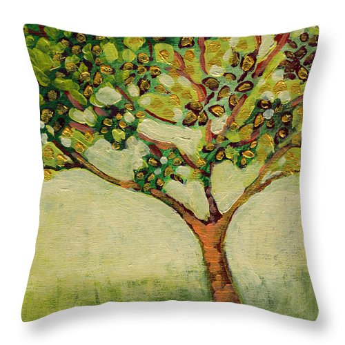 Tree Throw Pillow featuring the painting Plein Air Garden Series No 8 by Jennifer Lommers