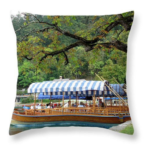 Pletna Throw Pillow featuring the photograph Pletnas by Douglas J Fisher