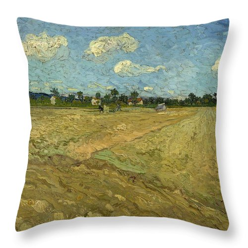 1888 Throw Pillow featuring the painting Ploughed Fields - The Furrows by Vincent van Gogh