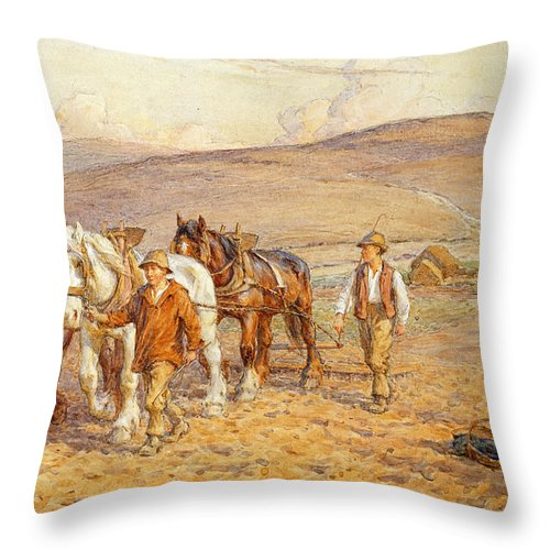 Plough Throw Pillow featuring the painting Ploughing by Joseph Harold Swanwick