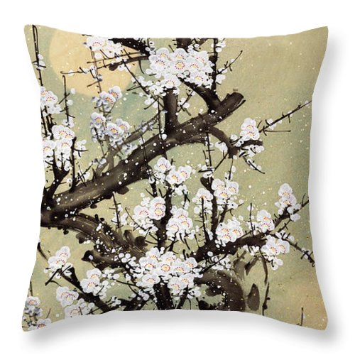 Chinese Culture Throw Pillow featuring the digital art Plum Blossom by Vii-photo