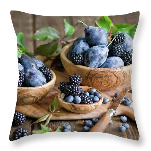 Plum Throw Pillow featuring the photograph Plums And Berries by Verdina Anna