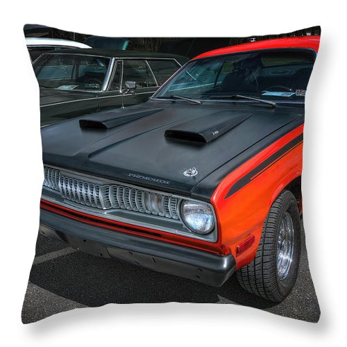 Plymouth Duster 340 Throw Pillow featuring the photograph Plymouth Duster 340 by David B Kawchak Custom Classic Photography