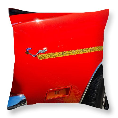 American Muscle Car Throw Pillow featuring the photograph Plymouth Road Runner Closeup by Mark Spearman