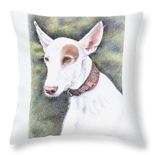 Dog Throw Pillow featuring the drawing Podenco Ibicenco by Nicole Zeug