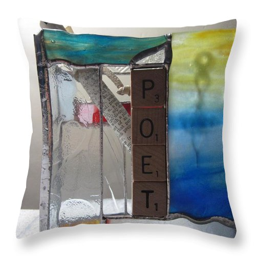 Throw Pillow featuring the painting Poet Windowsill Box by Karin Thue