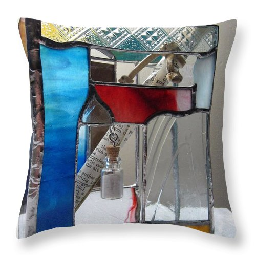 Throw Pillow featuring the painting Poet Windowsill Box - Other View by Karin Thue