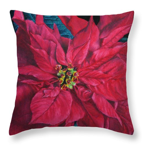 Poinsettia Throw Pillow featuring the painting Poinsettia II Painting by Marna Edwards Flavell