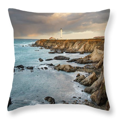 Headland Throw Pillow featuring the photograph Point Arena Headland And Lighthouse by Kjschoen