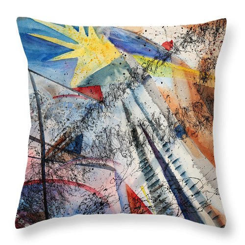 Abstract Throw Pillow featuring the painting Point Of View by Mary Benke