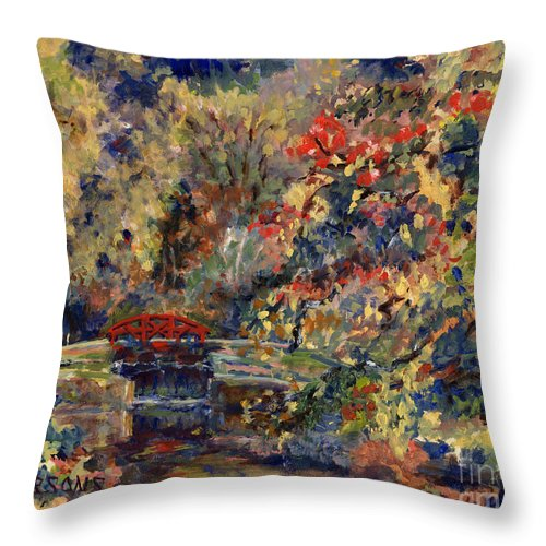 Point Pleasant Lock Throw Pillow featuring the painting Point Pleasant Lock In Bucks County by Pamela Parsons