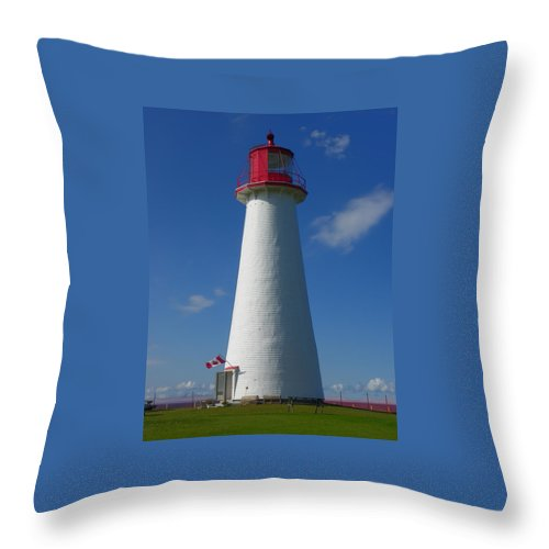 Lighthouses Throw Pillow featuring the photograph Point Prim Lighthouse by Georgia Hamlin