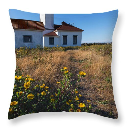 Point Wilson Lighthouse Throw Pillow featuring the photograph Point Wilson Lighthouse by Mike Dawson
