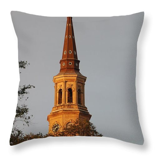 Cross Throw Pillow featuring the photograph Pointing Upward by Suzanne Gaff