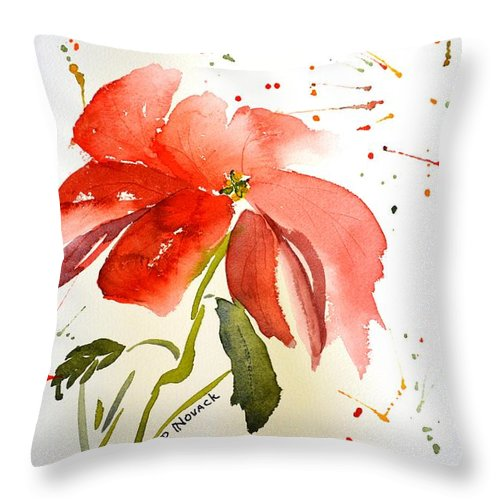 Flower Throw Pillow featuring the painting Pointsettia by Patricia Novack