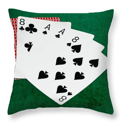 Poker Throw Pillow featuring the photograph Poker Hands - Dead Man's Hand 2 V.2 by Alexander Senin