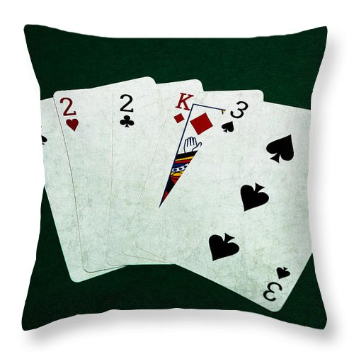 Poker Throw Pillow featuring the photograph Poker Hands - Three Of A Kind 1 by Alexander Senin