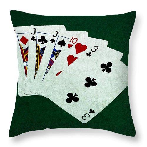 Poker Throw Pillow featuring the photograph Poker Hands - Three Of A Kind 3 by Alexander Senin