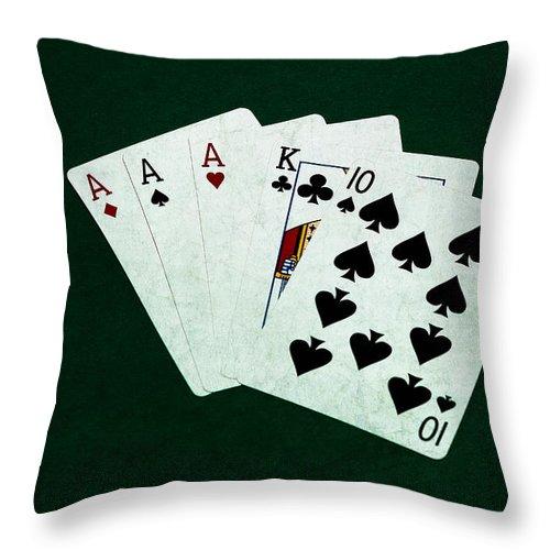 Poker Throw Pillow featuring the photograph Poker Hands - Three Of A Kind 4 by Alexander Senin