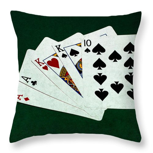 Poker Throw Pillow featuring the photograph Poker Hands - Two Pair 3 by Alexander Senin