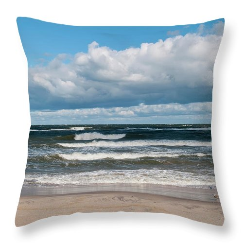 Water's Edge Throw Pillow featuring the photograph Poland, View Of Baltic Sea In Autumn At by Westend61