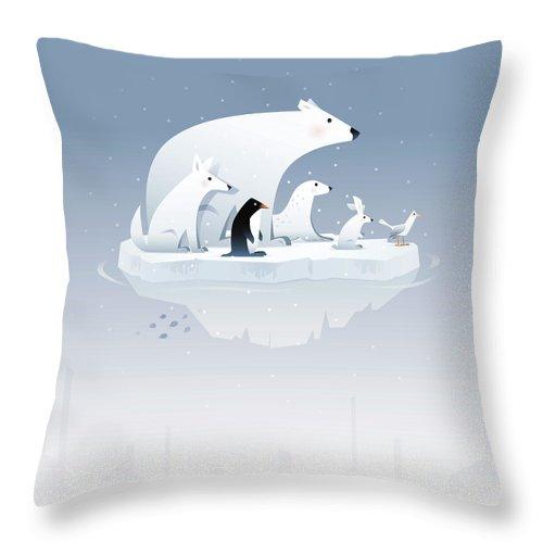 Arctic Fox Throw Pillow featuring the digital art Polar Bear And Friends by Id-work