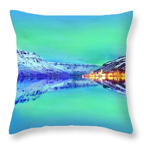 Landscapes Throw Pillow featuring the photograph Polar Lights Aurora Borealis Or Just Haven by Julia Fine Art And Photography