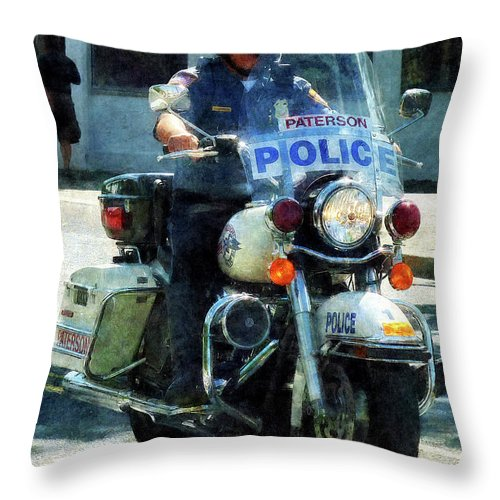 Police Throw Pillow featuring the photograph Police - Motorcycle Cop by Susan Savad