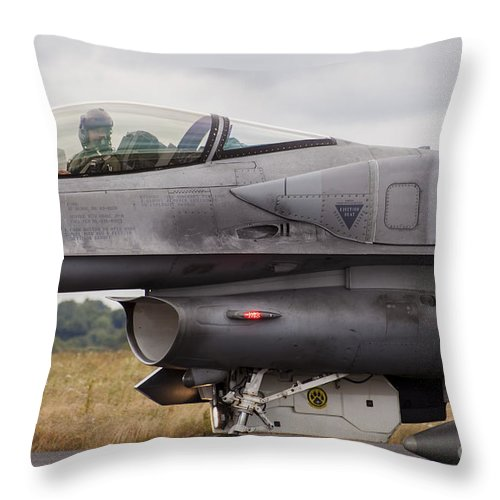 Germany Throw Pillow featuring the photograph Polish Air Force F-16c Block 52 Jet by Timm Ziegenthaler