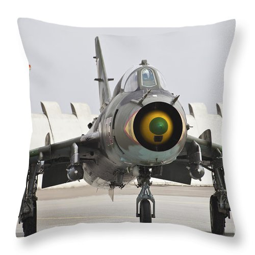 Czech Republic Throw Pillow featuring the photograph Polish Air Force Su-22 Fitter by Timm Ziegenthaler