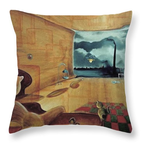Fantasy Throw Pillow featuring the painting Pollution by Blima Efraim